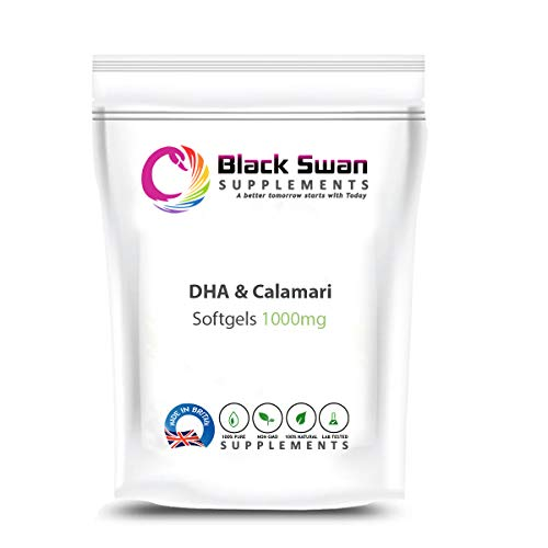 Black Swan DHA from Calamari 1000mg Soft Gel - for Increase Fertility, Healthy Nervous System and Healthy Heart System (30 softgels)