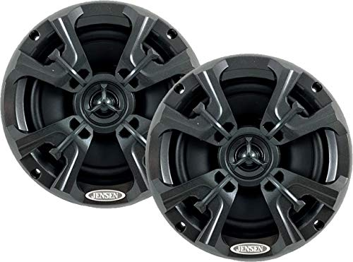 """Jensen MSX60RVR Marine Speakers 6.5"""" Coaxial Speaker, Completely Waterproof With UV Resistant Materials To Withstand the Outdoor Elements, Sold as Pair, Graphite Gray"""