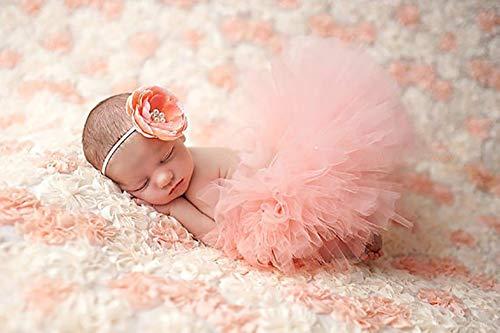 Tukistore Neugeborenes Baby Mädchen Rock Tutu Kleidung Trikot Kostüm Foto Prop Outfits Bekleidung Set mit Haarband (Rosa)