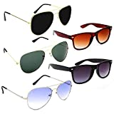 Standard Size shades / Goggles for men, women, boys, girls Light Weight Sunglasses for men and women, 100% UV Protection Stylish full frame sunglasses with comfortable nose bridge Latest combo of 5 unisex sunglasses / frames for eye protection Good F...