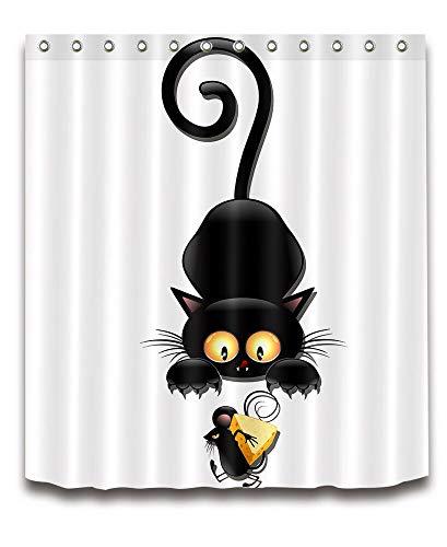 Schwarze Katze gefangen Maus stehlen Käse Duschvorhang Digitaldruck wasserdicht & schimmelfest 180CM * 180CM (12 Haken)