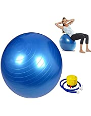 GETKO WITH DEVICE Anti-Burst Fitness Exercise Stability Yoga Gym Balls with Foot Pump, for Exercise Home, Balance, Gym, Core Strength, Yoga, Fitness 75cm (Multi-Color)