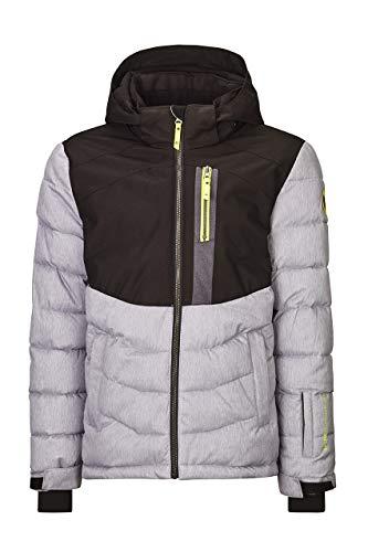 Killtec Giacca sportiva da sci Eloi Jr con cappuccio rimovibile e paraneve, colonna d'acqua 10000 mm, colore: grigio chiaro, 164