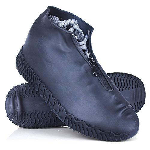 JUDA Cubierta del Zapato Impermeable, Funda de Silicona para Zapatos con Suela Antideslizante, Lavable Cubierta del Zapato Reutilizable Para Días de Lluvia y Nieve (L (39-42), Negro)