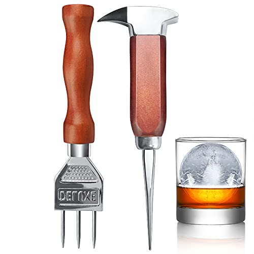 Ice Pick set of 2-7.24 Inch and 6.8Inch Stainless Steel Ice Crusher with Wood Handle, Japanese Style Ice Chipper,ideal for Bars and Home(2 Pick)-IPCK2