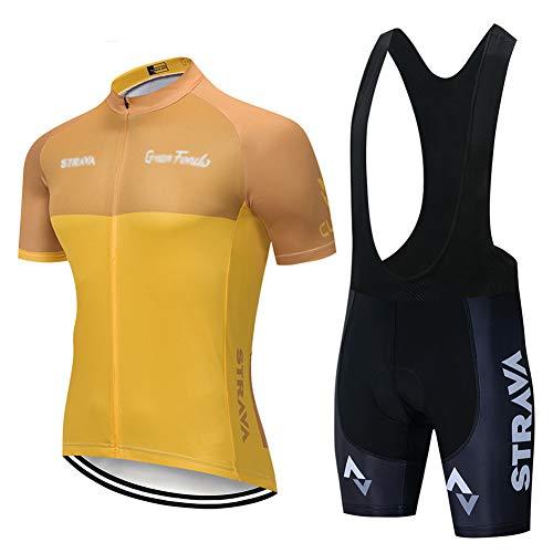 Fahrradanzug Für Herren, Kurzarm Oberteil, Radlerhose Trikot Mit Gel-Pad, Für MTB, Spinning, Rennrad Mens Summer Cycling (Gelb 1,L)