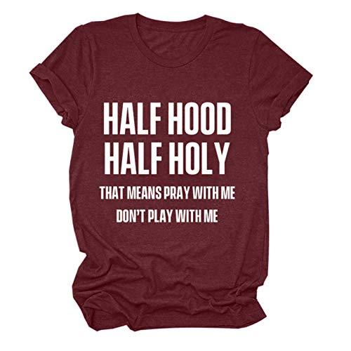 Ykghfd Camisa de manga corta de playa de arena de impresión de letras de las mujeres de la moda blusa casual Tops, Vino, L