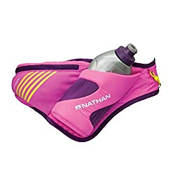 Nathan Peak Hydration Waist Pack, purple color. Used for running marathons, and other extended length exercises.