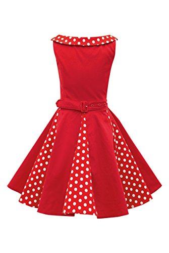 BlackButterfly Kinder 'Alexia' Vintage Polka-Dots Kleid im 50er-J-Stil (Rot, 9-10 J / 134-140)