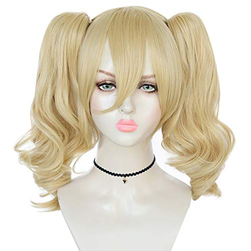 JoneTing Blonde Wig with Ponytails for Women Wavy Synthetic Wigs Blonde Cosplay Wig Costume for Comic Con