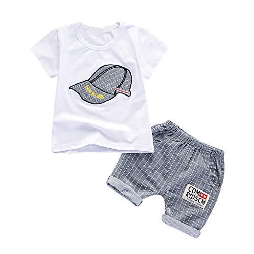 TTLOVE_Baby Jungen Outfits Sommer Kleidung Sets Cap Druck T-Shirt und Short Plaid Hosen(Grau,80 cm,6-12 Monate)