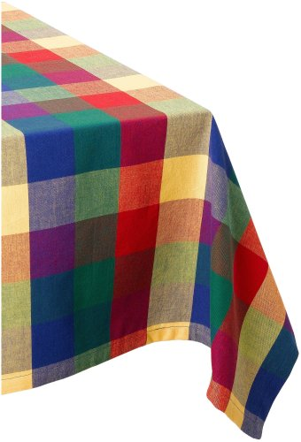 DII Checkered Collection Tabletop, Tablecloth, 52x52, Summer Check
