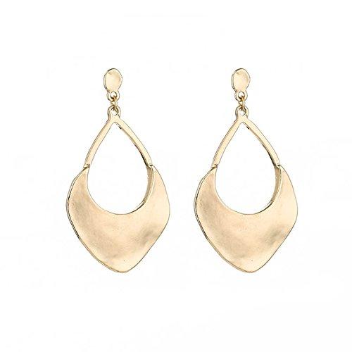 Joyfeel buy Arete Hueco Pendientes geométricos para Mujeres Pendiente Retro con Hueco en Forma de Gota (Dorado /1 par)