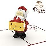 PaperCrush Pop-Up Karte Weihnachtsmann mit Geschenk - Lustige 3D Weihnachtskarte mit Nikolaus, Grußkarte zu Weihnachten für Kinder, Freund und Freundin - Handmade Geschenkkarte inkl. Umschlag