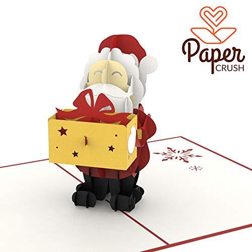 PaperCrush® Pop-Up Karte Weihnachtsmann mit Geschenk - Lustige 3D Weihnachtskarte mit Nikolaus, Grußkarte zu Weihnachten für Kinder, Freund und Freundin - Handmade Geschenkkarte inkl. Umschlag