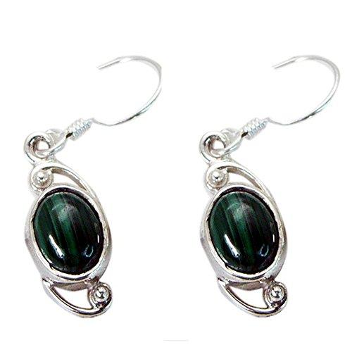 Pendiente de malaquita verde real para mujer, plata de ley 925, forma ovalada, gancho largo, chakra, joyería de curación