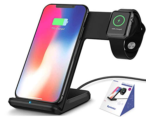 Bysionics Wireless Charger,2 in 1 Fast Qi Phone Wireless Charging Stand & Wireless Charging Dock Compatible for Apple iWatch Series 4/3/2/1 (Black)