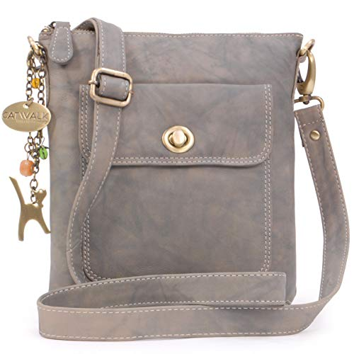Catwalk Collection Handbags - Women's Leather Cross Body Bag with Detachable Adjustable Strap - LAURA - Grey
