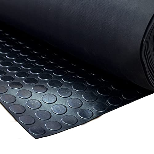 VARGORT suelo caucho, estribera circulos de caucho antideslizante para usos generales e industriales 1 Mts (Anch) x 2 Mts(Larg) x espesor 3mm