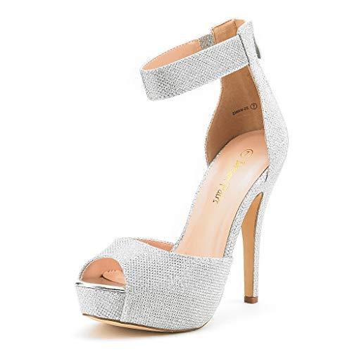 DREAM PAIRS SWAN-05 New Women's Ankle Strap Back Zipper Peep Toe High Heel Platform Pump Shoes,Silver Glitter,9 B(M) US