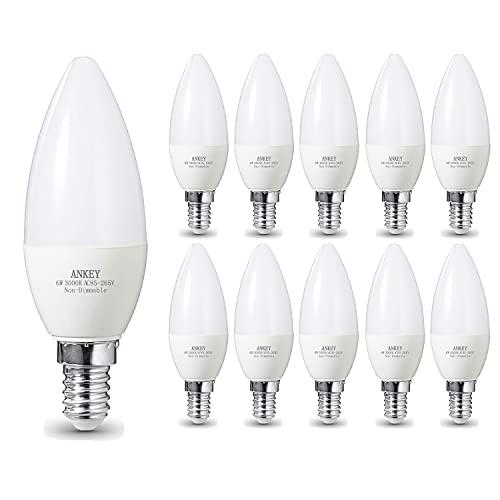 Ankey E14 Lampadina a candela LED, 6W (equivalenti a lampadine a incandescenza da 50W), 3000K Bianco Caldo, 600Lm, non dimmerabile, confezione da 10