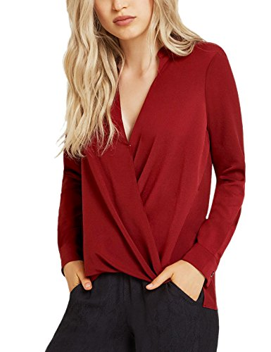 Dohia Women's Casual V Neck Chiffon Blouses Long Sleeves Loose Tops Wrap Front Surplice Shirt C2614 (L, Wine Red 2)