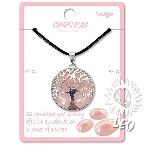 Collar de árbol de la Vida con Colgante Piedra Natural Energeticas - Distintas Piedras Semipreciosas (Cuarzo Rosa)