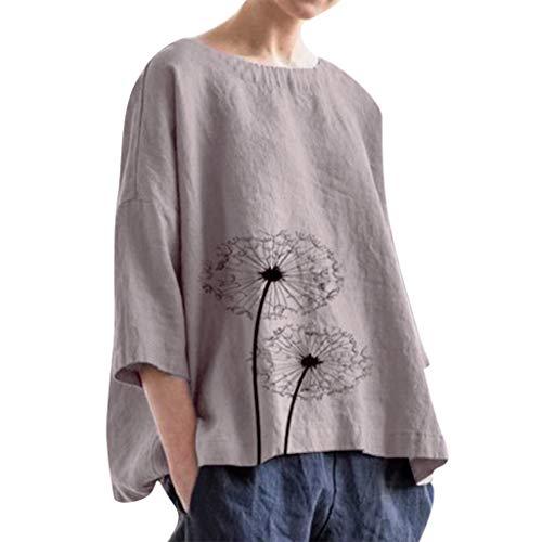 COZOCO Casual De Gran Tamaño De La Mujer Color Sólido Impreso Lino Suelto Diario Camisa De Playa Top