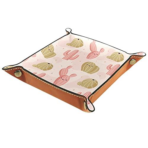 MUMIMI Organizador de joyas para plato, diseño de cactus, color rosa y amarillo