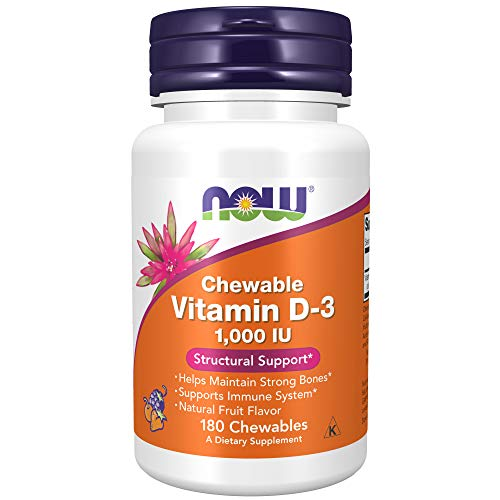 NOW Supplements, Vitamin D-3 1,000 IU, Natural Fruit Flavor, Structural Support*, 180 Chewables