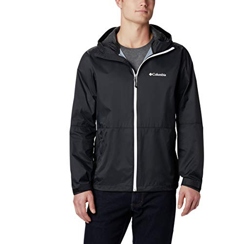 Columbia Men's Roan Mountain Rain Jacket, Black/White, Large