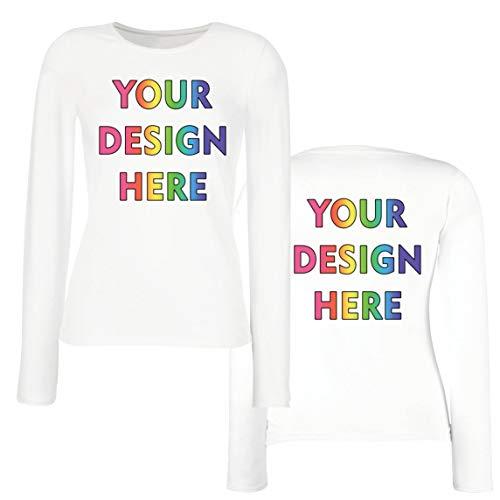 lepni.me Camisetas de Manga Larga para Mujer Impresión Personalizada de 2 Caras en el Frente y en la Parte Posterior, Texto Personalizado o Diseño de su Propia Imagen (Small Blanco Multicolor)
