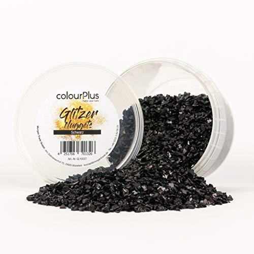 colourPlus Glitzer Nuggets (Schwarz) Glitter-Zusatz zum Veredeln von Wandfarben auf Wasserbasis oder zum Basteln, Made in Germany