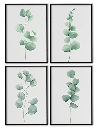 Set de 4 Láminas Decorativas Nórdicas de Hojas para Enmarcar - A3 A4 - Decoración de Pared - Cuadros Modernos en Lienzo sin Marco, LSM-SET4-002-A4