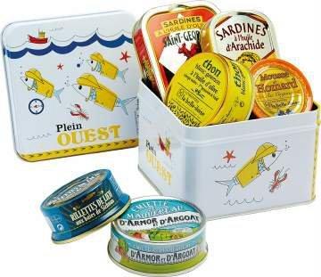 """Geschenkbox """"Plein Ouest"""" Sardinen, Makrelen Emietté, Seelachs, Hummermousse, Thunfisch, in Schmuckdose aus der Bretagne"""