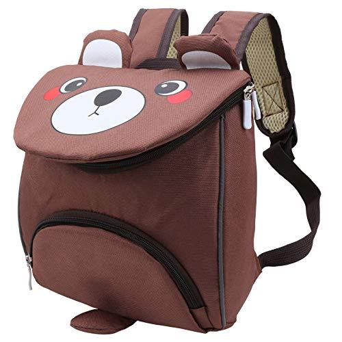 Lindo bolso escolar para niños Crtoon rosa marrón para bebés de 3 a 6 años(Bear brown)