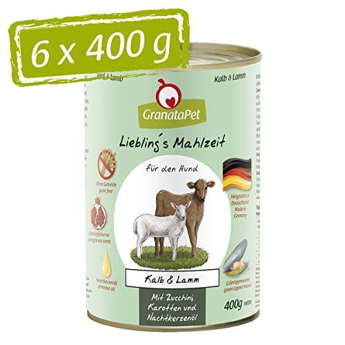 GranataPet Liebling's Mahlzeit Kalb & Lamm, Nassfutter für Hunde, Hundefutter ohne Getreide & ohne Zuckerzusätze, Alleinfuttermittel, 6 x 400 g