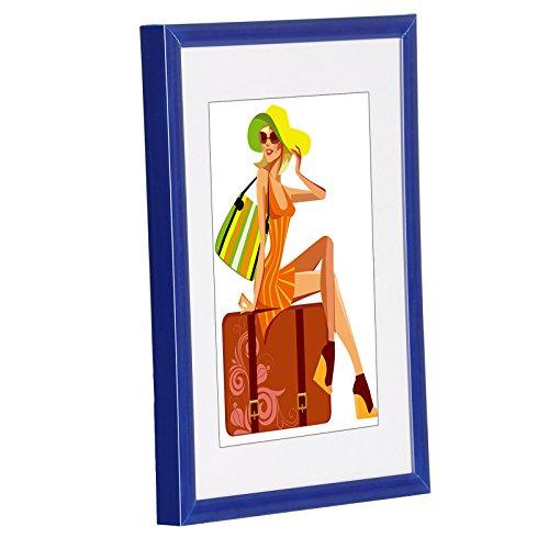WOLTU 315 Bilderrahmen Bildergalerie Fotogalerie, Foto Collage Galerie, Kunststoff und Echtglas, New Life Style, Blau, 10x15 cm