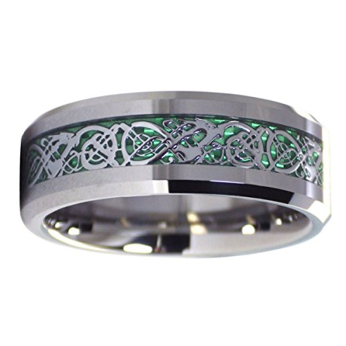 Fantasy Forge Jewelry Tungsten Green Celtic Dragon Ring 8mm Mens Womens Handfasting Wedding Band Size 9