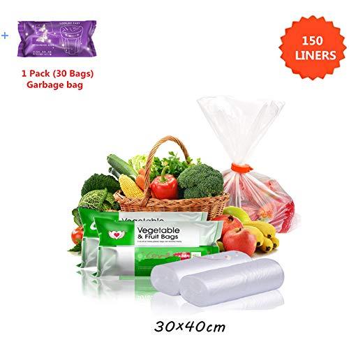 Xmansky Inicio 30 x 40CM voedsel opslag zak, 150 zakken Plastic Clear Produce Bag op een rol Fruit Groente voedsel Brood Levensmiddelenopslag Clear Bags krijgen Extra 1 Pack (30 zakken) van de keuken vuilniszak