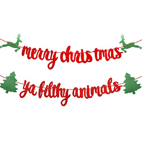 Red Glittery Merry Christmas Banner, Merry Christmas Ya Filthy Animal Banner, Christmas Party Holiday, Ugly Sweater Christmas Party Decorations, Christmas Dinner, Mantle Home Decor,Xmas Sign Decor