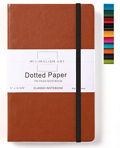 Minimalism Art, Classic Notebook Journal, A5 Size 5 X 8.3 inches, Brown, Dotted Grid Page, 192 Pages, Hard Cover, Fine PU Leather, Inner Pocket, Quality Paper-100gsm, Designed in San Francisco