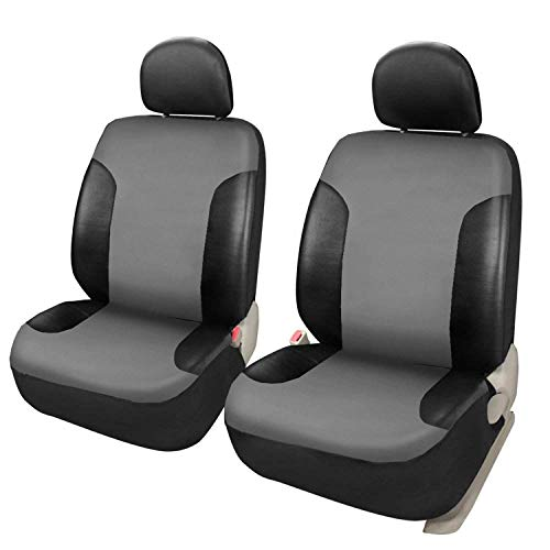 Leader Accessories Black/Grey Faux Leather 2 Front Seat Covers - Car Protector Interior Accessories, Airbag Compatible, Universal Fits for Cars, SUV, Truck