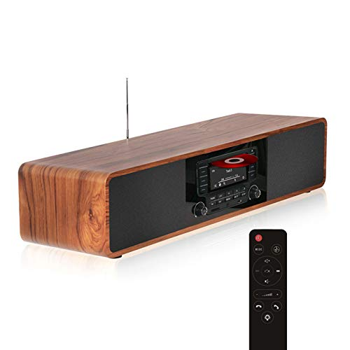 KEiiD CD Player for Home with Bluetooth Stereo System Wooden Desktop Speakers FM Radio USB SD AUX Remote Control, 28 Inch Long 20 Pounds Weight