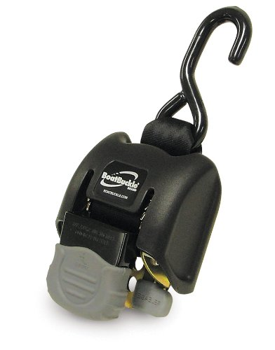 BoatBuckle G2 Retractable Transom Tie-Down (Black), 1 Pair