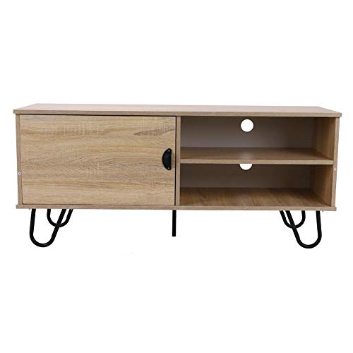 EBTOOLS Tv-kast, houten televisiekast, lowboard, dressoir, televisietafel, tv-consolekast met 2 open laden, 1 deur en 4 metalen haarspeldpoten voor thuisgebruik, 120 x 40 x 53 cm
