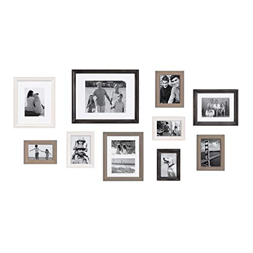 Kate and Laurel Bordeaux Gallery Wall Frame Kit, Set of 10 with Assorted Size Frames in Modern Farmhouse Finishes of Black, White and Gray