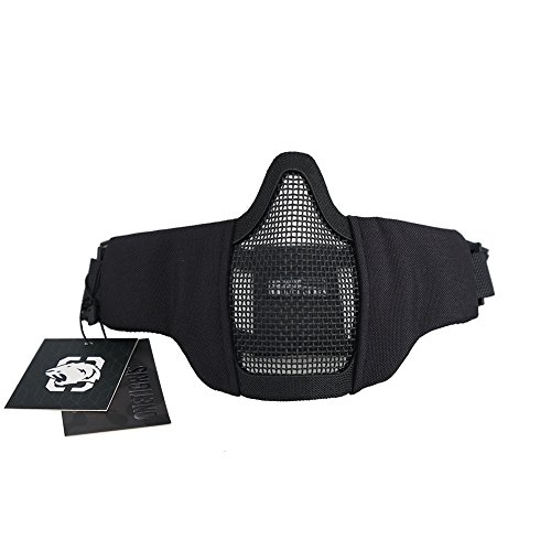 OneTigris Máscara Táctica Plegable de Media Cara con Malla para Practicar Airsoft y Paintball CS con Correa Ajustable y elástica, Hombre, Lower Face Mask
