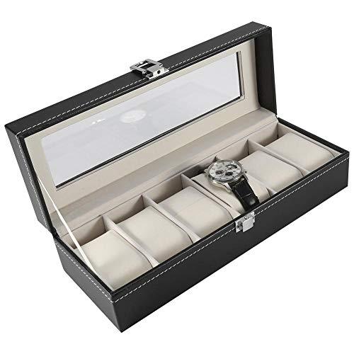 AUNMAS zwart PU leren horlogebox, 1 stuks, hoogwaardige 6 sleuven, PU-leer, doos voor horloge, sieraden, display, opslagorganisator, warme (30 x 11 x 8 cm)