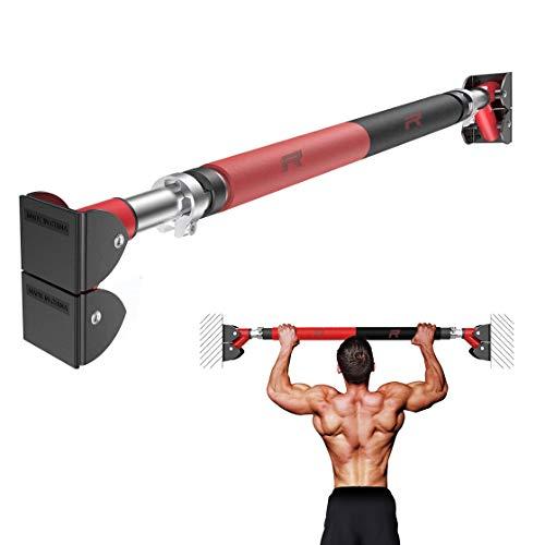 RHINOSPORT Barra de dominadas ajustable, barra de acero resistente, barra de puerta para dominadas, barra de puerta para puertas de 72-92 cm, sin tornillos, barra de dominadas de hasta 400 kg